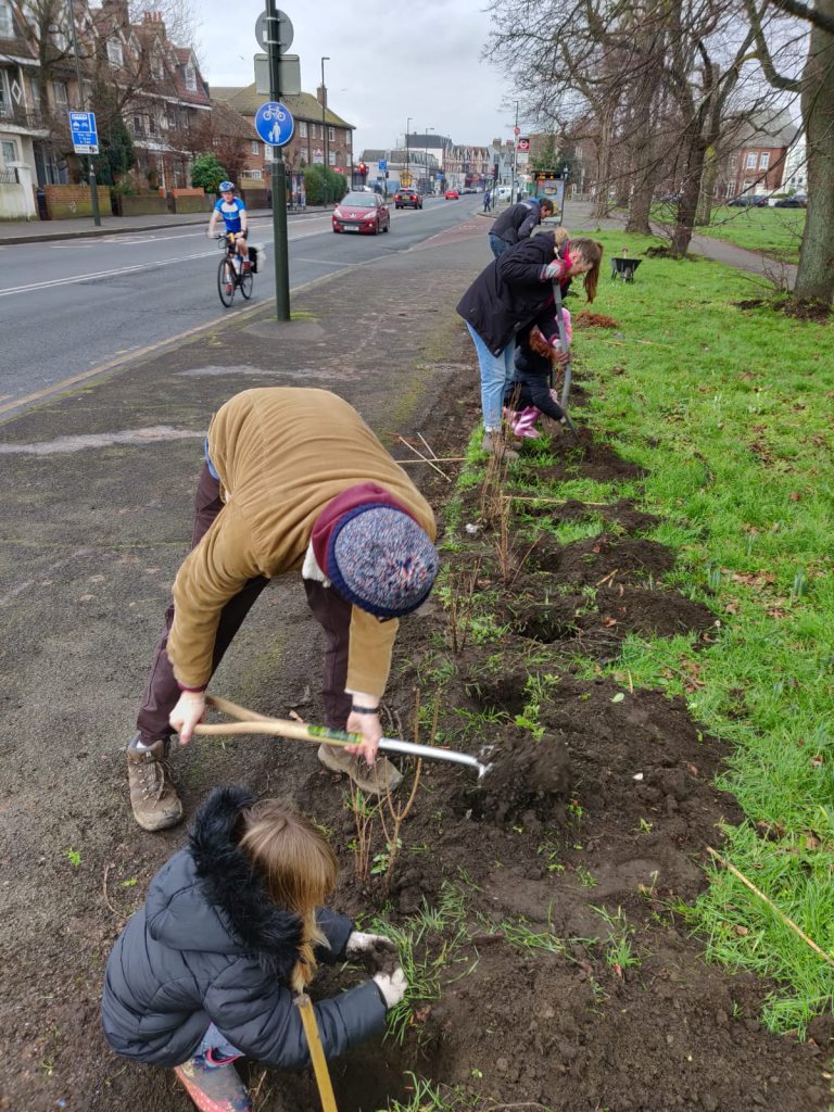 A family digging a hedge